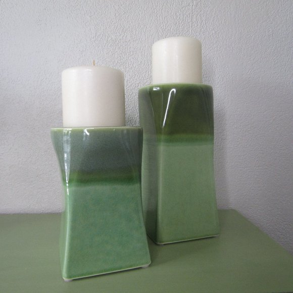 PartyLite Green Ceramic Candle Holders